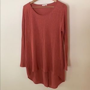 Long sleeved coral open back top